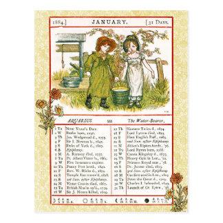 January 1884 Almanac.  Aquarius, The Water Bearer Postcard