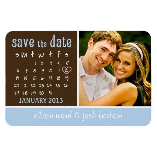 "JANUARY 2013 Calendar ""Save the Date"" Magnet"