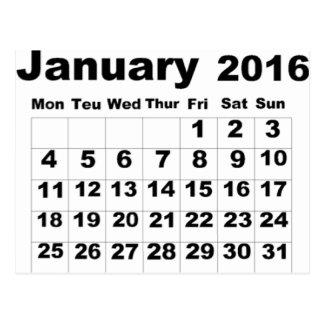 January 2016 Calendar Postcard
