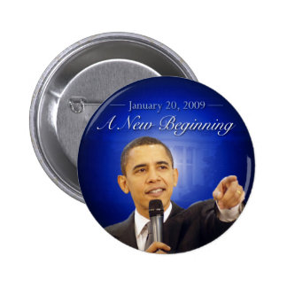 January 20: A New Beginning Obama Button