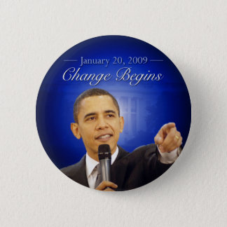 January 20: Change Begins Obama Inauguration Butto Pinback Button