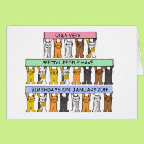 January 20th Birthdays celebrated by cats. Card