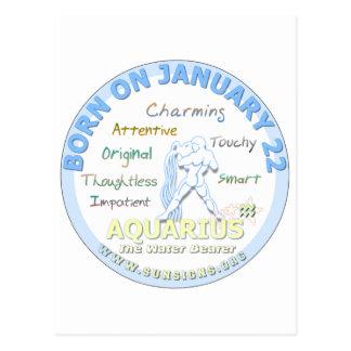 January 22nd Birthday - Aquarius Postcard
