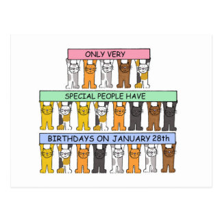January 28th Birthdays celebrated by cats. Postcard