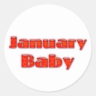 January Baby Round Stickers
