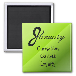 January Birthday Meaning 2 Inch Square Magnet