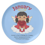 January Birthstone Angel Black Party Plates