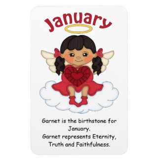 January Birthstone Angel Black Premium Magnet