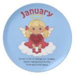 January Birthstone Angel Blonde Dinner Plates