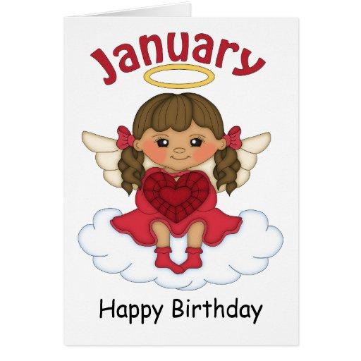 January Birthstone Angel Brunette Birthday Card | Zazzle