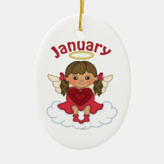 January Birthstone Angel Brunette Ceramic Ornament