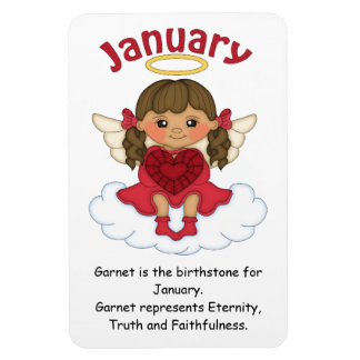 January Birthstone Angel Brunette Premium Magnet