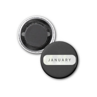 January Black Small Round Magnet by Janz