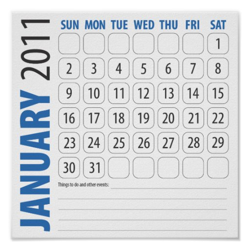 January Calendar 2011 in blue Posters