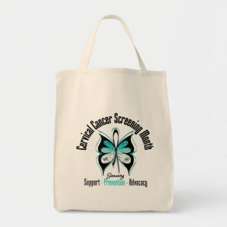 January Cervical Cancer Screening Month Grocery Tote Bag