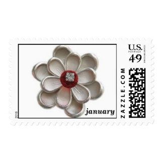January Flower Stamps