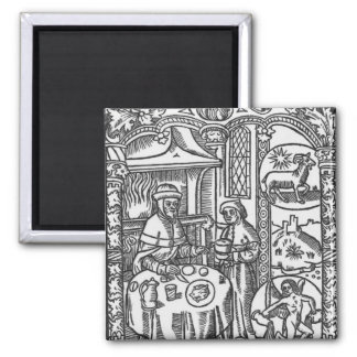 January, from the 'Almanach des Bergers', 1491 2 Inch Square Magnet