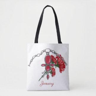 January Garnet and Carnation Tote Bag
