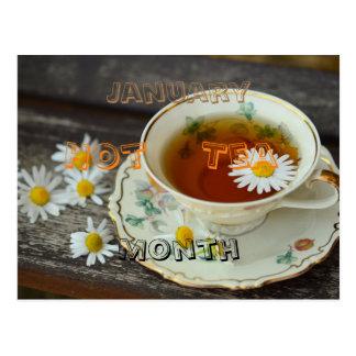 January - hot tea month postcard