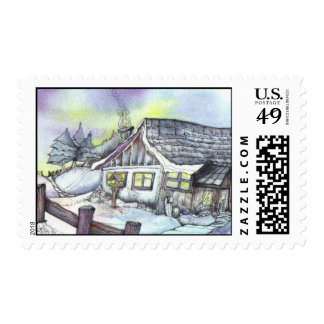 January in the Garden Postage Stamp