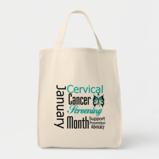 January National Cervical Cancer Screening Month Canvas Bag