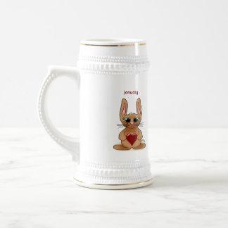 January Rabbit Birthstone Garnet Beer Stein