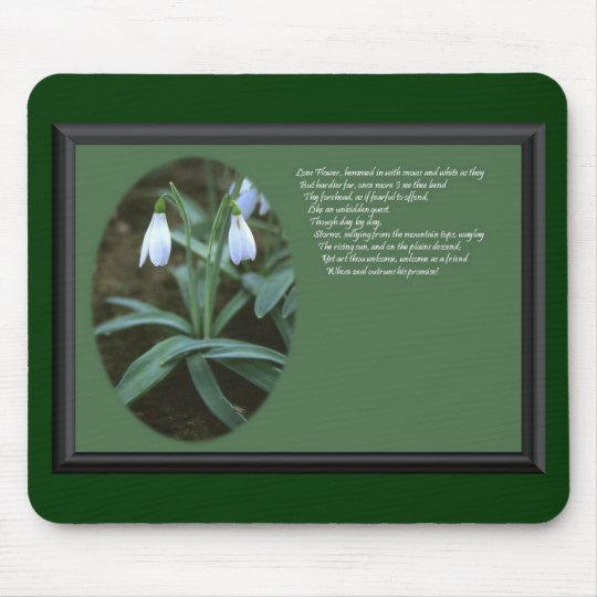 January Snowdrop with Verse Mouse Pad