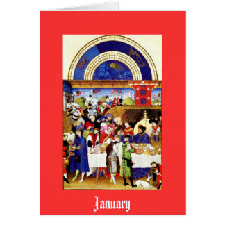 January - the Tres Riches Heures du Duc de Berry Stationery Note Card