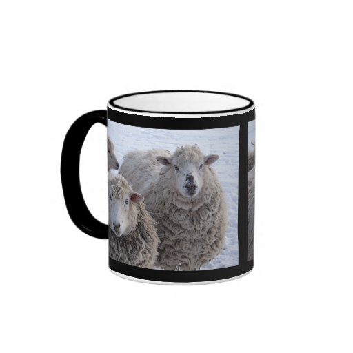 January Two Sheep Faces Coffee Mugs
