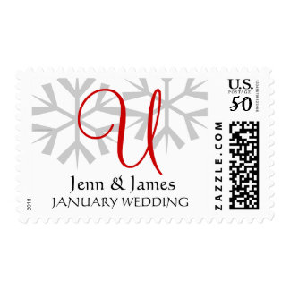 January Wedding Announcement Red Monogram Postage