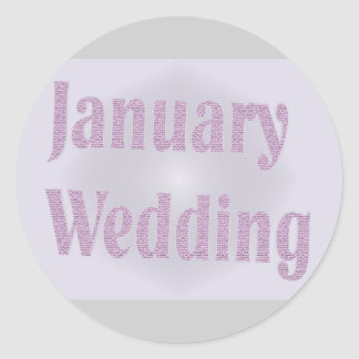 january wedding classic round sticker