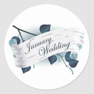 January Wedding : leaves of the season : Classic Round Sticker