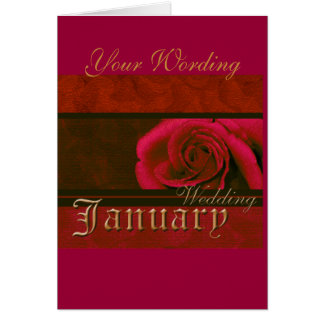 January Wedding red pink rose card (customise)