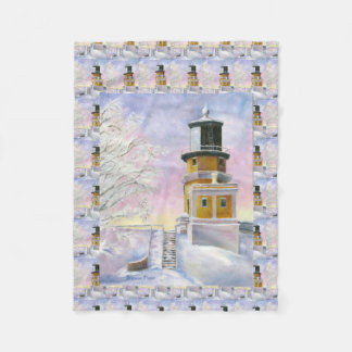 January's Lighthouse Split Rock Fleece Blanket