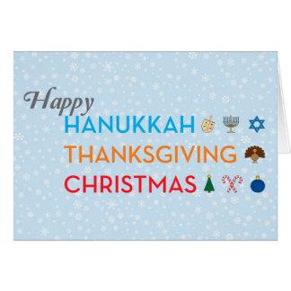 Jánuca, acción de gracias, tarjeta de Navidad