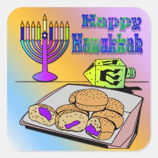 Jánuca - comida Dreidel pegatina de Menorah
