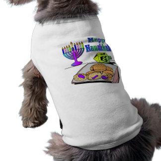 Jánuca - comida, Dreidel, ropa del mascota de Playera Sin Mangas Para Perro