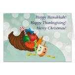 ¡Jánuca feliz, acción de gracias, navidad! Tarjetón