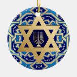 ¡Jánuca feliz! Estrella del diseño de David y de Ornamentos De Navidad