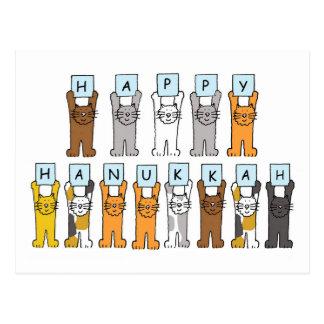 Jánuca feliz para los amantes del gato postal