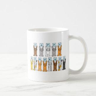 Jánuca feliz para los amantes del gato taza de café
