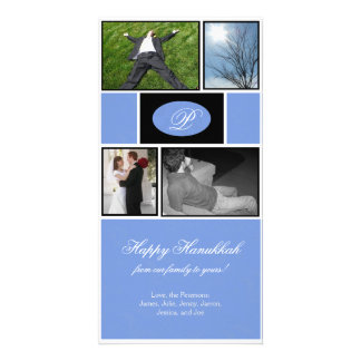 Jánuca formal azul tarjeta fotográfica