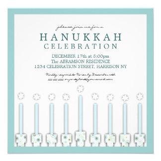 Jánuca Menorah con las velas en lunar Invitación Personalizada