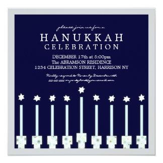 Jánuca Menorah con las velas en lunar Invitacion Personalizada