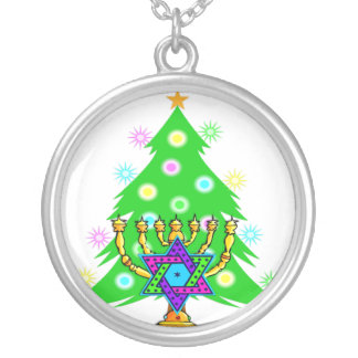Jánuca Menorah y árbol de navidad Colgante Redondo
