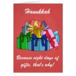 ¡Jánuca, porque ocho días de regalos! Tarjeta de T