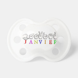 JANVIER FINGERSPELLED ASL NAME SIGN PACIFIER