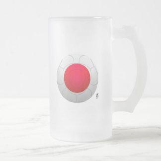 Japan 2010 Football Design Frosted Glass Beer Mug