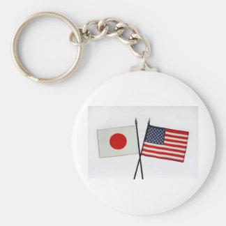 JAPAN AMERICAN FLAG BASIC ROUND BUTTON KEYCHAIN