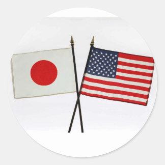 JAPAN AMERICAN FLAG CLASSIC ROUND STICKER